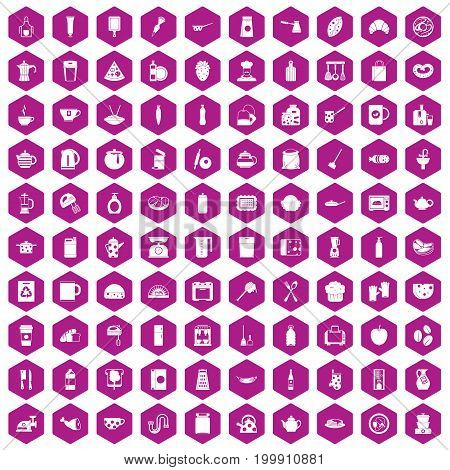 100 kitchen icons set in violet hexagon isolated vector illustration