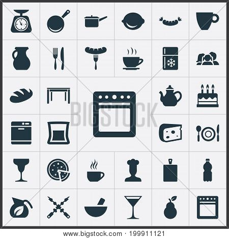 Elements Wooden Desk, Stove, Fridge And Other Synonyms Chopping, Tortilla And Freezer.  Vector Illustration Set Of Simple Gastronomy Icons.