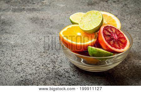 Fresh Citrus Fruit In A Bowl.