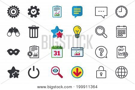 Anonymous mask and cogwheel gear icons. Recycle bin delete and power sign symbols. Chat, Report and Calendar signs. Stars, Statistics and Download icons. Question, Clock and Globe. Vector