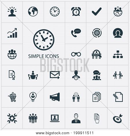 Elements Earth, Goal, Director And Other Synonyms Advertising, Planet And Call.  Vector Illustration Set Of Simple Brainstorming Icons.