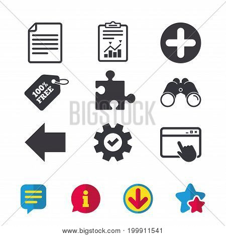 Plus add circle and puzzle piece icons. Document file and back arrow sign symbols. Browser window, Report and Service signs. Binoculars, Information and Download icons. Stars and Chat. Vector