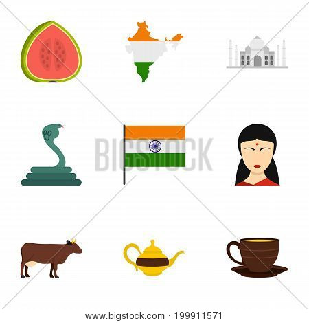 India icon set. Flat style set of 9 India vector icons for web isolated on white background