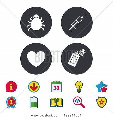 Bug and vaccine syringe injection icons. Heart and spray can sign symbols. Calendar, Information and Download signs. Stars, Award and Book icons. Light bulb, Shield and Search. Vector