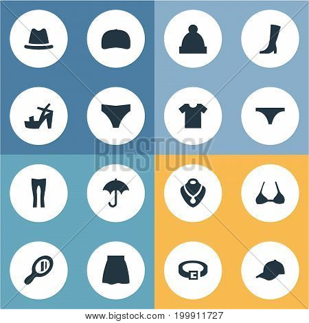 Elements Headpiece, String, Ski Hat And Other Synonyms Casual, Winter And Hat.  Vector Illustration Set Of Simple Clothes Icons.