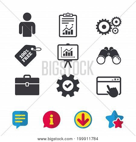 Business icons. Human silhouette and presentation board with charts signs. Case and gear symbols. Browser window, Report and Service signs. Binoculars, Information and Download icons. Stars and Chat