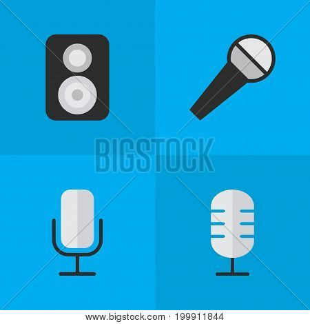 Elements Microphone, Speaker, Mike And Other Synonyms Make, Speaker And Mike.  Vector Illustration Set Of Simple Music Icons.