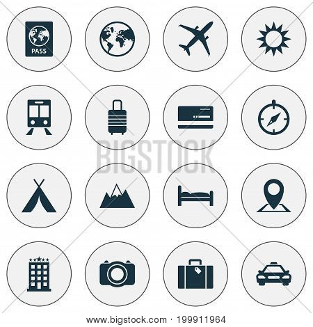 Traveling Icons Set. Collection Of Mount, Building, Planet And Other Elements