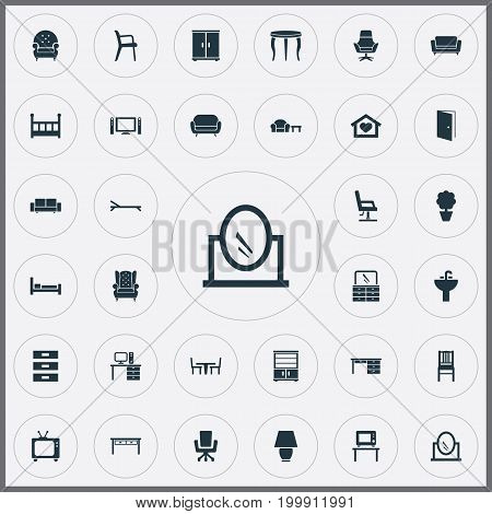 Elements Seat, Flat-Screen, Trestle And Other Synonyms Lamp, Chest And Mattress.  Vector Illustration Set Of Simple Furnishings Icons.