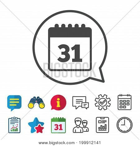Calendar sign icon. Date or event reminder symbol. Information, Report and Calendar signs. Group, Service and Chat line icons. Vector