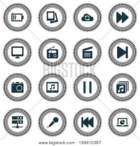 Multimedia Icons Set. Collection Of Music, Camera, Album And Other Elements