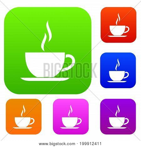 Cup of hot drink set icon in different colors isolated vector illustration. Premium collection