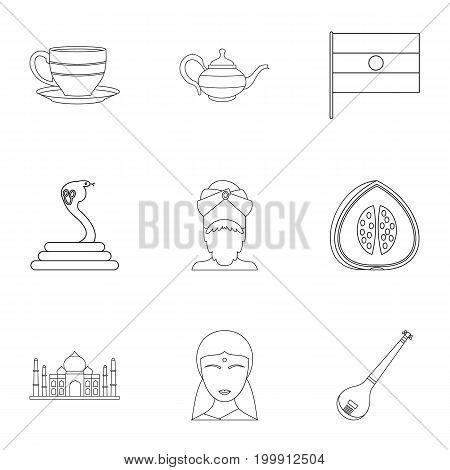 Indian symbols icon set. Outline style set of 9 indian symbols vector icons for web isolated on white background