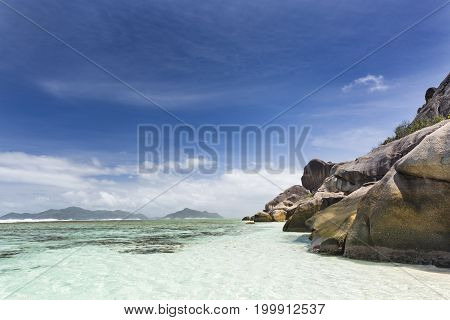 Rocks And Lagoon, La Digue, Seychelles