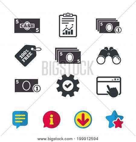 Businessman case icons. Currency with coins sign symbols. Browser window, Report and Service signs. Binoculars, Information and Download icons. Stars and Chat. Vector