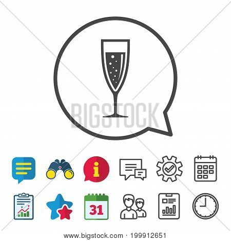 Glass of champagne sign icon. Sparkling wine with bubbles. Celebration or banquet alcohol drink symbol. Information, Report and Calendar signs. Group, Service and Chat line icons. Vector