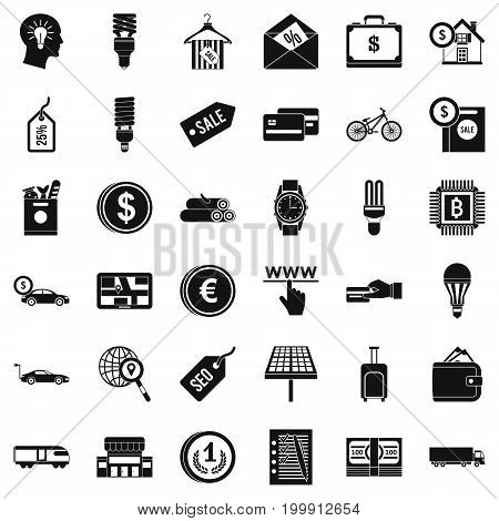 Economy icons set. Simple style of 36 economy vector icons for web isolated on white background