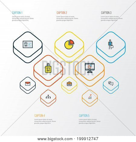 Business Colorful Outline Icons Set. Collection Of Identification Document, Network, Circle Stats And Other Elements