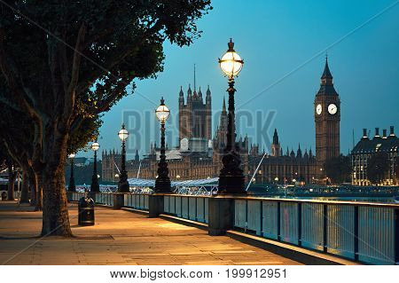 Big Ben and Houses of Parliament in night - London United Kingdom