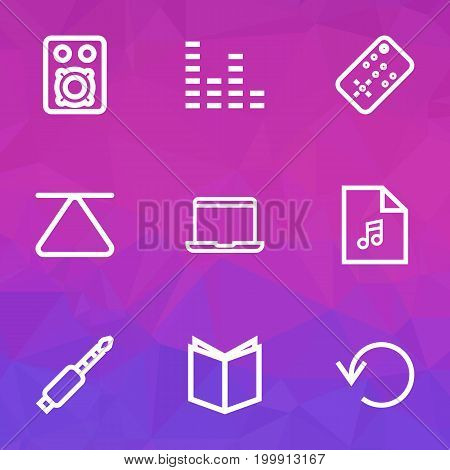 Media Outline Icons Set. Collection Of Speaker, Eject, Playlist And Other Elements