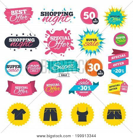 Sale shopping banners. Clothes icons. T-shirt and pants with shorts signs. Swimming trunks symbol. Web badges, splash and stickers. Best offer. Vector