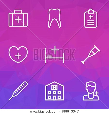 Drug Outline Icons Set. Collection Of Claw, Thermometer, Crutch And Other Elements