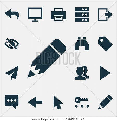 User Icons Set. Collection Of Binocular, Return, Pencil And Other Elements