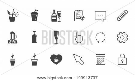 Beer, coffee and tea icons. Beer, wine and cocktail signs. Soft and alcohol drinks symbols. Chat, Report and Calendar line signs. Service, Pencil and Locker icons. Click, Rotation and Cursor. Vector