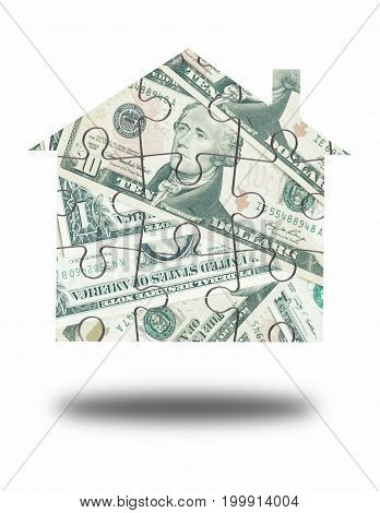 Dollar house jigsaw puzzle over a white background