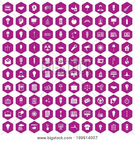 100 lamp icons set in violet hexagon isolated vector illustration