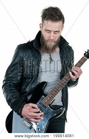 A Charismatic Man With A Beard, In A Leather Jacket, Playing An Electric Guitar, On A White Isolated