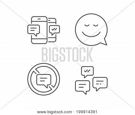 Message, Smile speech bubble and Communication line icons. Group chat, Conversation and SMS signs. Stop talking symbol. Quality design elements. Editable stroke. Vector