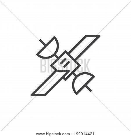 Satellite line icon, outline vector sign, linear style pictogram isolated on white. Symbol, logo illustration. Editable stroke. Pixel perfect
