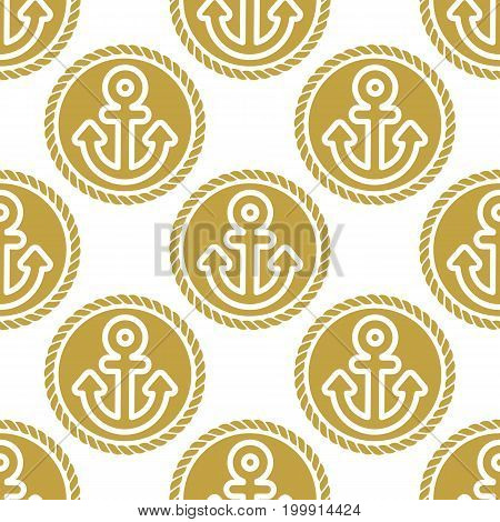 Seamless pattern with anchors and chains. Ongoing stripes background of marine theme golden color. Vector illustration