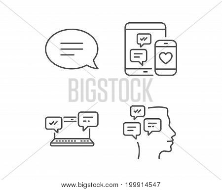 Speech bubble, Message and Communication line icons. Group chat, Conversation and SMS signs. Messenger symbol. Quality design elements. Editable stroke. Vector