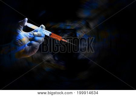 Double Exposure The Doctor's an medical syringe injection in hand palm or fingers Liquid drug or narcotic copy space Medical part concept.