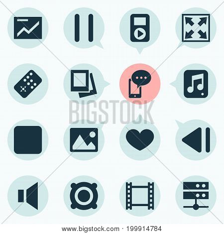 Music Icons Set. Collection Of Controller, Film, Pause And Other Elements