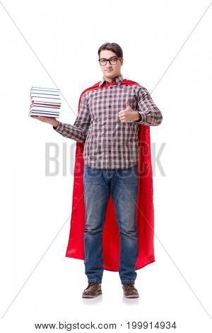 Super hero student with books isolated on white