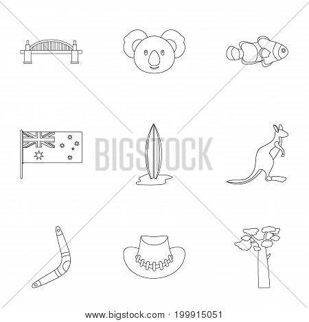 Australian symbols icon set. Outline style set of 9 Australia symbols vector icons for web isolated on white background