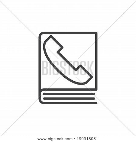 Phone book line icon, outline vector sign, linear style pictogram isolated on white. Symbol, logo illustration. Editable stroke. Pixel perfect