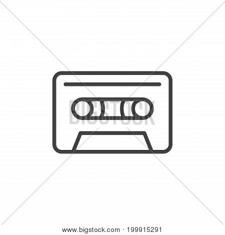 Audio cassette line icon, outline vector sign, linear style pictogram isolated on white. Symbol, logo illustration. Editable stroke. Pixel perfect