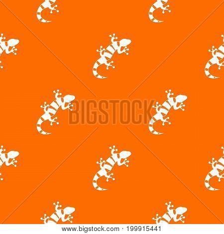 Lizard pattern repeat seamless in orange color for any design. Vector geometric illustration