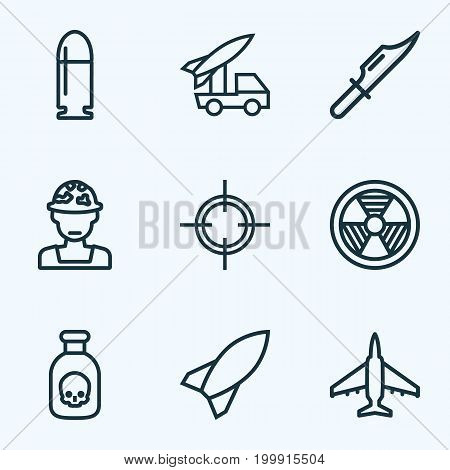 Warfare Outline Icons Set. Collection Of Rocket, Venom, Officer And Other Elements
