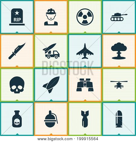 Army Icons Set. Collection Of Missile, Rip, Military And Other Elements