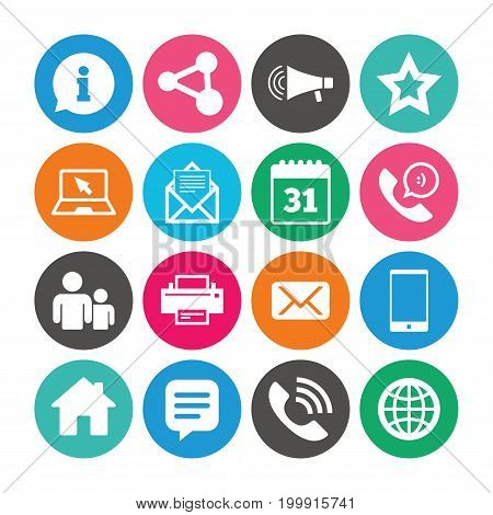 Set of Communication, Conference and Information icons. E-Mail, Printer and Internet signs. Speech bubble, Support and Phone call symbols. Colored circle buttons with flat signs. Vector