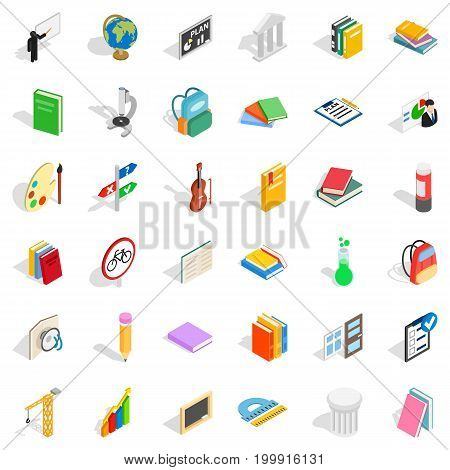 Education icons set. Isometric style of 36 education vector icons for web isolated on white background