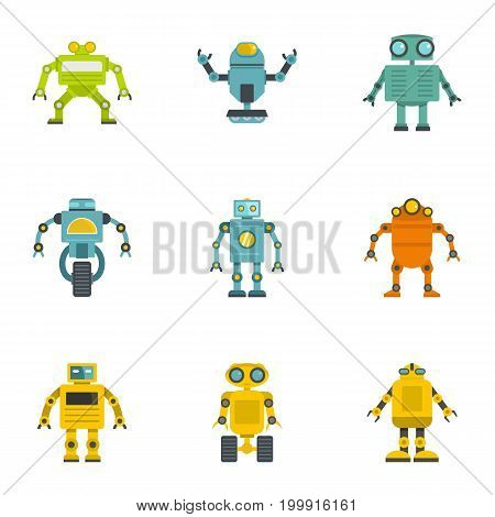 Technology robot icons set. Flat set of 9 technology robot vector icons for web isolated on white background