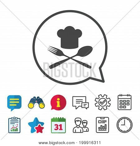 Chef hat sign icon. Cooking symbol. Cooks hat with fork and spoon. Information, Report and Calendar signs. Group, Service and Chat line icons. Vector