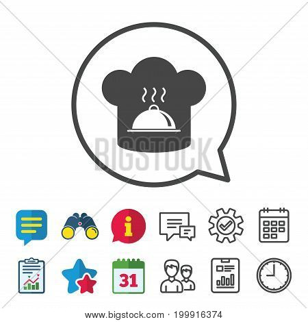 Chef hat sign icon. Cooking symbol. Cooks hat with hot dish. Information, Report and Calendar signs. Group, Service and Chat line icons. Vector