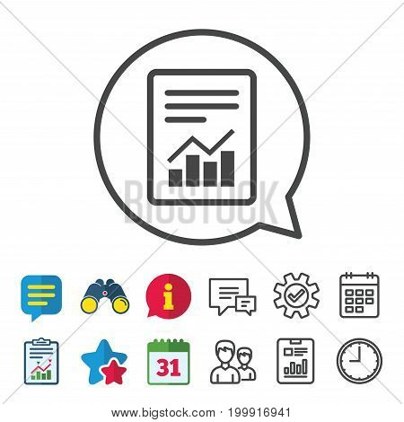 Text file sign icon. Add File document with chart symbol. Accounting symbol. Information, Report and Calendar signs. Group, Service and Chat line icons. Vector